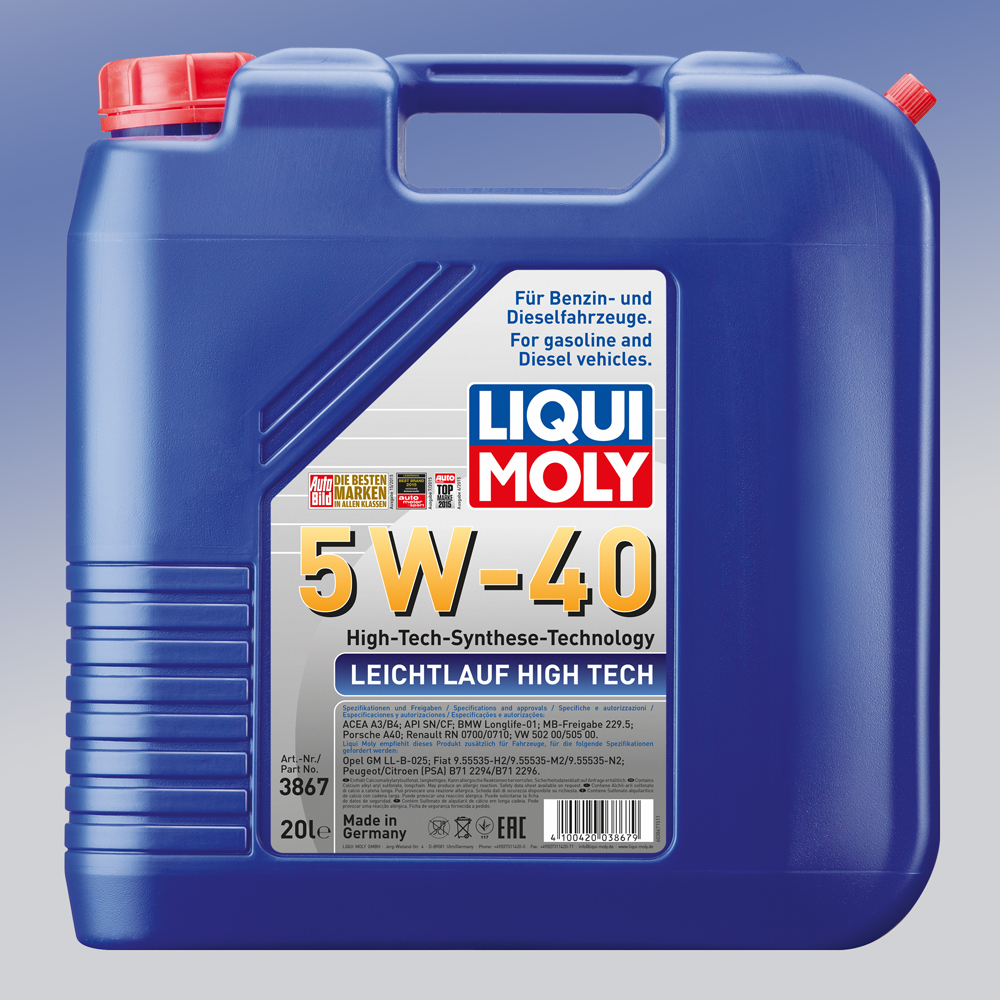 liqui moly leichtlauf high tech motor l sae 5w 40 1 x 20. Black Bedroom Furniture Sets. Home Design Ideas
