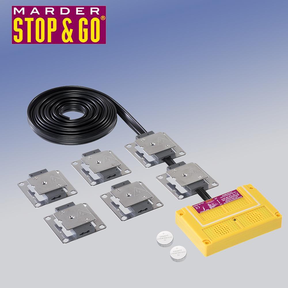 stop go 07544 marderabwehr typ 8 plus minus hochspannung ultraschall batterie ebay. Black Bedroom Furniture Sets. Home Design Ideas